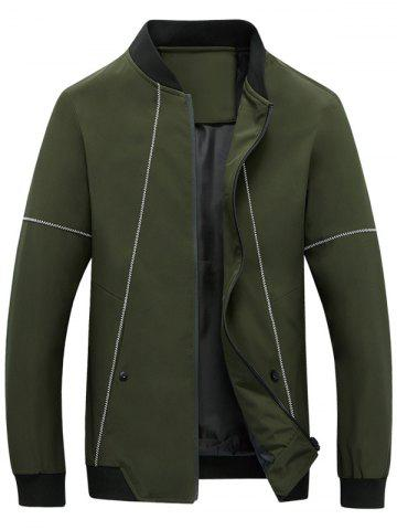Suture Panel Stand Collar Zip Up Jacket Vert Armée 4XL