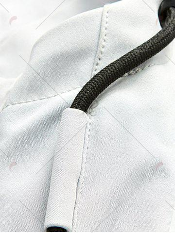 Unique Zip Pocket Hooded Graphic Braid Jacket - 2XL GRAY Mobile