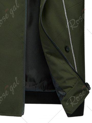 Fashion Suture Panel Stand Collar Zip Up Jacket - 3XL ARMY GREEN Mobile