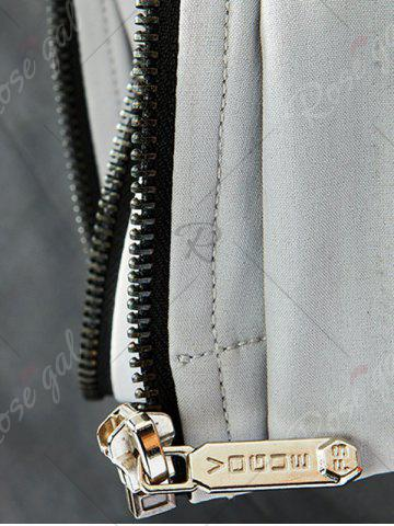 Fancy Zip Pocket Hooded Graphic Braid Jacket - L GRAY Mobile