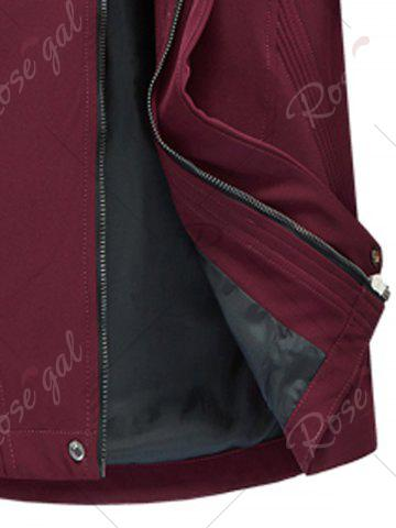 Trendy Zip Pocket Hooded Graphic Braid Jacket - 4XL RED Mobile