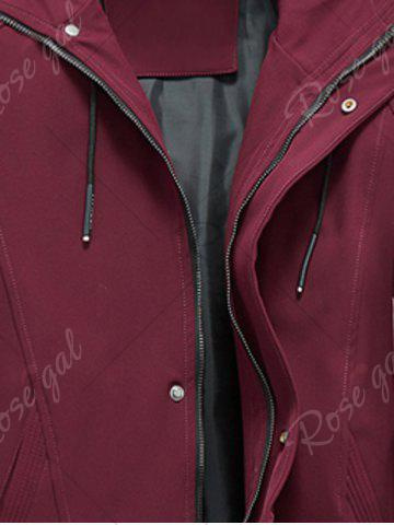 Fancy Zip Pocket Hooded Graphic Braid Jacket - 4XL RED Mobile