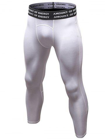 Cheap Quick Dry Openwork Panel Stretchy Gym Capri Pants WHITE L
