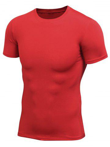 New Short Sleeve Stretchy Fitted Gym T-shirt - RED 2XL Mobile
