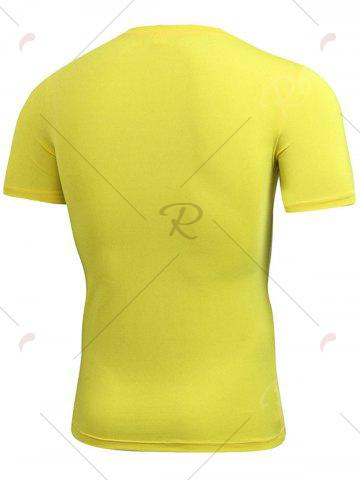 Buy Short Sleeve Stretchy Fitted Gym T-shirt - YELLOW L Mobile