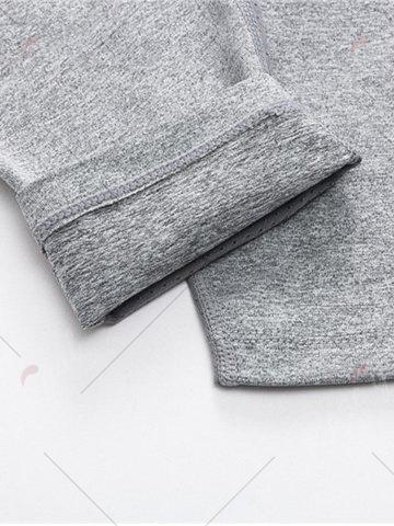 Latest Quick Dry Openwork Panel Stretchy Gym Capri Pants - L GRAY Mobile