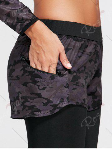 Online Camo Printed Sports Two Layered  Leggings - M BLACK Mobile