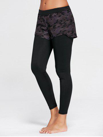 Trendy Camo Printed Sports Two Layered  Leggings BLACK M