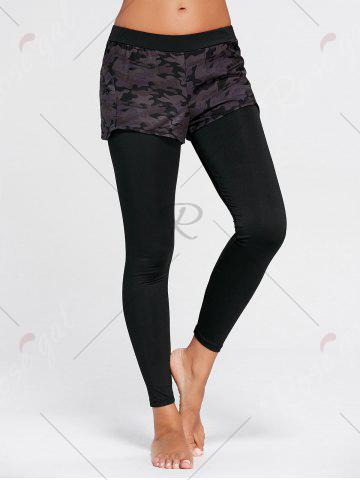 Hot Camo Printed Sports Two Layered  Leggings - L BLACK Mobile