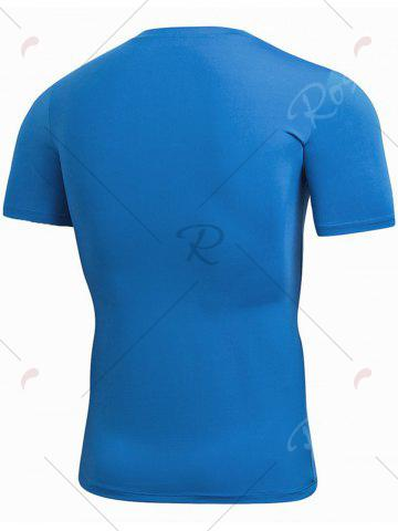 New Short Sleeve Stretchy Fitted Gym T-shirt - BLUE L Mobile
