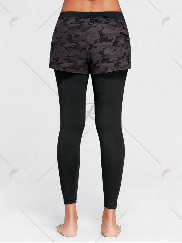 New Camo Printed Sports Two Layered  Leggings - XL BLACK Mobile