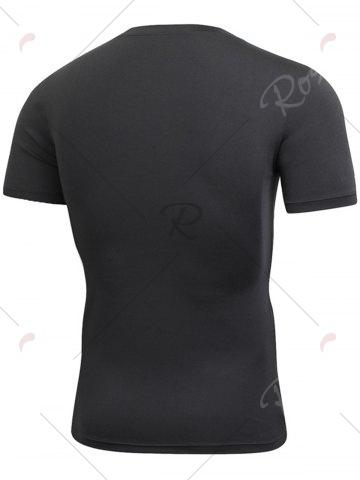 Fancy Short Sleeve Stretchy Fitted Gym T-shirt - BLACK L Mobile