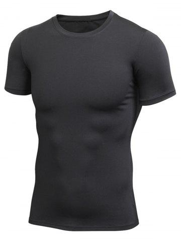 Fancy Short Sleeve Stretchy Fitted Gym T-shirt - BLACK M Mobile