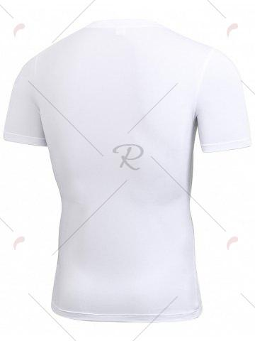 Chic Short Sleeve Stretchy Fitted Gym T-shirt - WHITE M Mobile