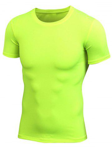 Hot Short Sleeve Stretchy Fitted Gym T-shirt - NEON GREEN L Mobile