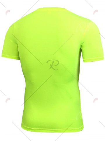 Best Short Sleeve Stretchy Fitted Gym T-shirt - NEON GREEN L Mobile