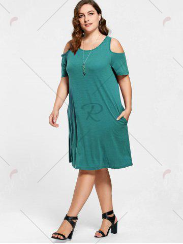 Store Tunic Cold Shoulder Plus Size Dress - 9XL GREEN Mobile