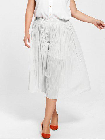 Latest Pleated Wide Leg Plus Size Pants - 2XL WHITE Mobile