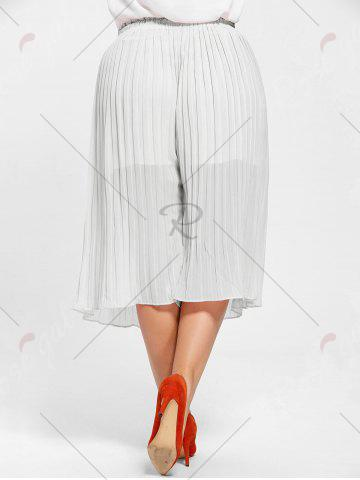 Best Pleated Wide Leg Plus Size Pants - 2XL WHITE Mobile