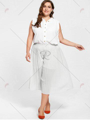 Outfits Pleated Wide Leg Plus Size Pants - WHITE 3XL Mobile