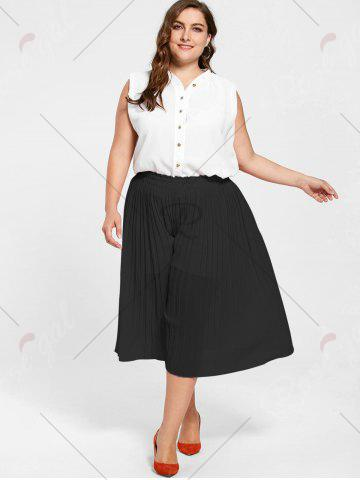 Hot Pleated Wide Leg Plus Size Pants - BLACK 2XL Mobile