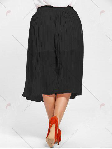 Affordable Pleated Wide Leg Plus Size Pants - BLACK 2XL Mobile