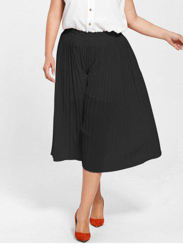 Sale Pleated Wide Leg Plus Size Pants - BLACK 2XL Mobile