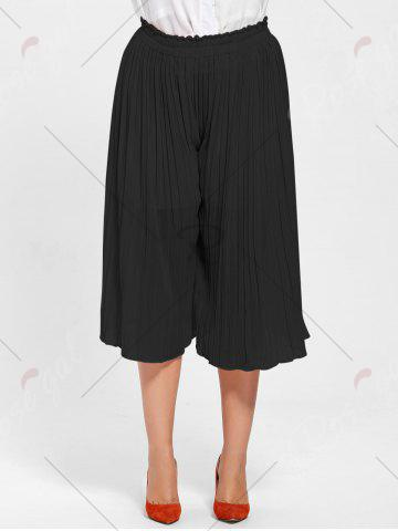 Online Pleated Wide Leg Plus Size Pants - BLACK 2XL Mobile
