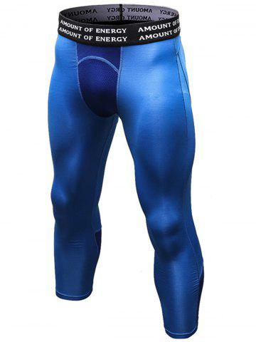 Hot Quick Dry Openwork Panel Stretchy Gym Capri Pants - L BLUE Mobile