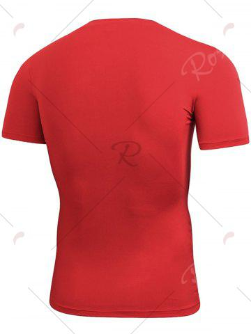 Latest Short Sleeve Stretchy Fitted Gym T-shirt - RED M Mobile