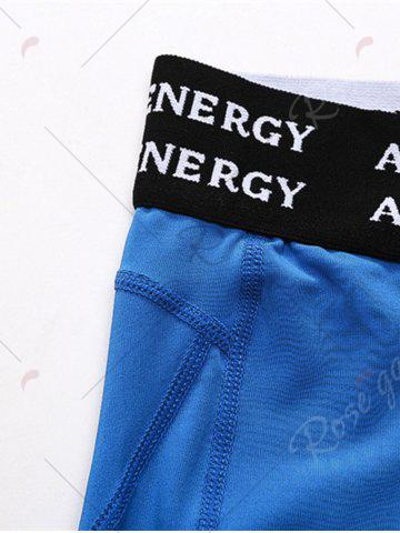 Best Quick Dry Openwork Panel Stretchy Gym Capri Pants - 2XL BLUE Mobile
