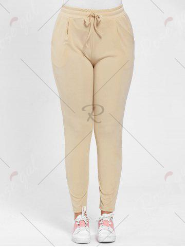 Buy Plus Size Drawstring Waist Skinny Pants - APRICOT 3XL Mobile