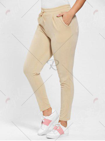 Unique Plus Size Drawstring Waist Skinny Pants - APRICOT 3XL Mobile