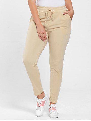 Trendy Plus Size Drawstring Waist Skinny Pants - APRICOT 3XL Mobile