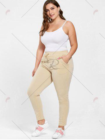 Cheap Plus Size Drawstring Waist Skinny Pants - APRICOT 3XL Mobile