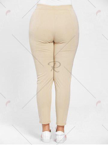 Fashion Plus Size Drawstring Waist Skinny Pants - APRICOT 3XL Mobile