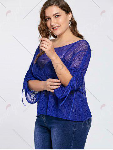 Shop Bell Slit Sleeve Plus Size Sheer Crochet Knit Sweater - ONE SIZE BLUE Mobile