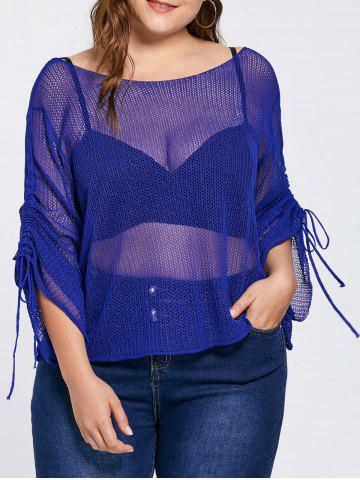 New Bell Slit Sleeve Plus Size Sheer Crochet Knit Sweater - ONE SIZE BLUE Mobile