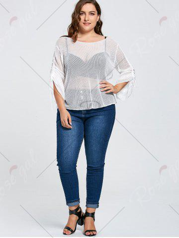 Cheap Bell Slit Sleeve Plus Size Sheer Crochet Knit Sweater - ONE SIZE WHITE Mobile