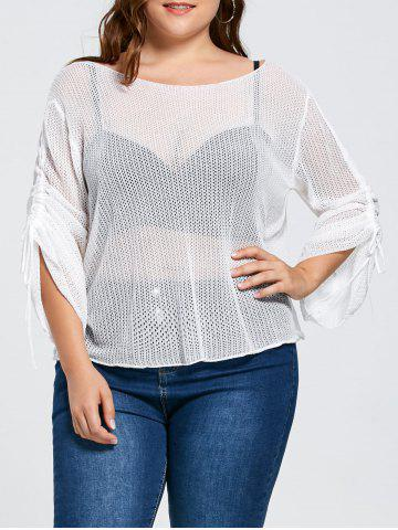 Trendy Bell Slit Sleeve Plus Size Sheer Crochet Knit Sweater - ONE SIZE WHITE Mobile