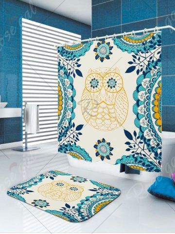 Fashion Leaves Owl Printed Showerproof Bathroom Curtain - W71 INCH * L71 INCH COLORFUL Mobile