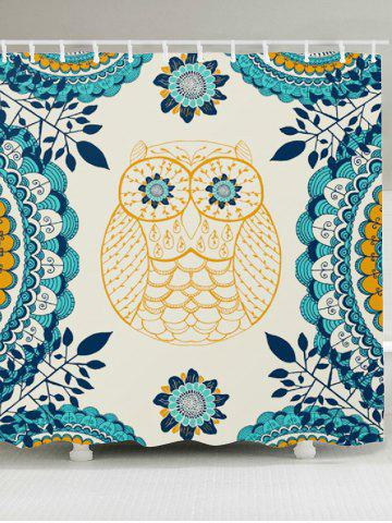 Fashion Leaves Owl Printed Showerproof Bathroom Curtain - W79 INCH * L71 INCH COLORFUL Mobile