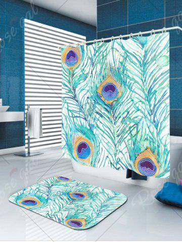 Trendy Peacock Feathers Printed Showerproof Bathroom Curtain - W71 INCH * L71 INCH LIGHT GREEN Mobile