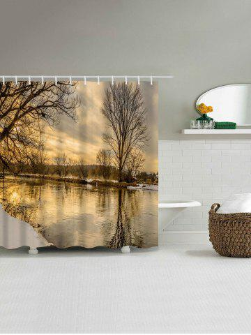 Hot Sunset River Print Fabric Waterproof Bathroom Shower Curtain - W71 INCH * L71 INCH COLORMIX Mobile