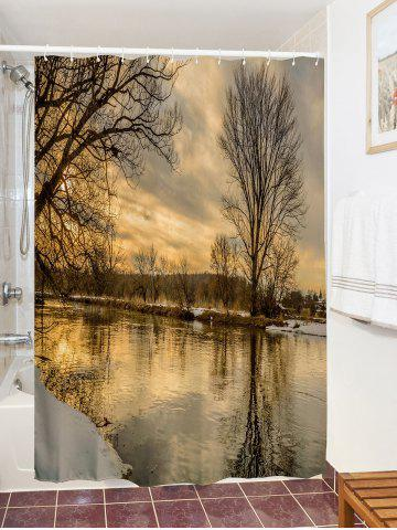 Online Sunset River Print Fabric Waterproof Bathroom Shower Curtain - W71 INCH * L71 INCH COLORMIX Mobile