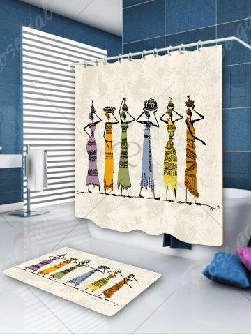 Outfits Waterproof African Girl Pattern Fabric Shower Curtain - W59 INCH * L71 INCH COLORFUL Mobile