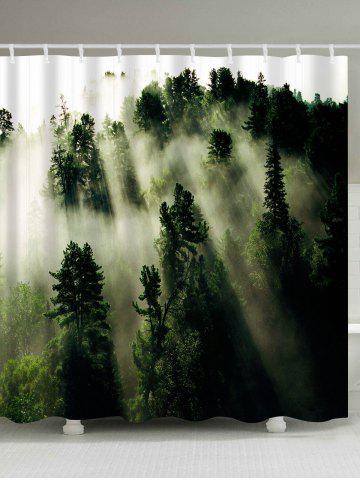 New Forest Trees Fog Print Fabric Waterproof Bathroom Shower Curtain - W59 INCH * L71 INCH GREEN Mobile