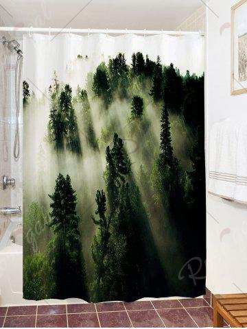 Buy Forest Trees Fog Print Fabric Waterproof Bathroom Shower Curtain - W59 INCH * L71 INCH GREEN Mobile