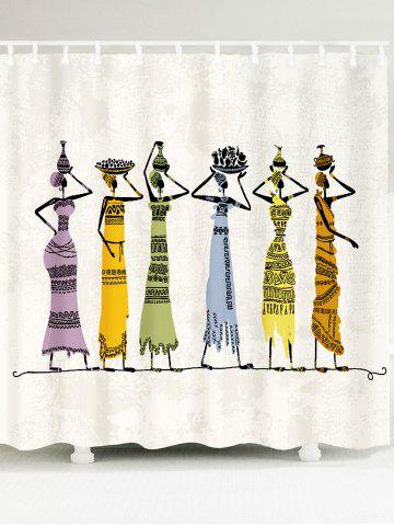 Store Waterproof African Girl Pattern Fabric Shower Curtain - W79 INCH * L71 INCH COLORFUL Mobile