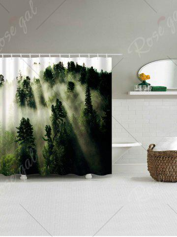 Sale Forest Trees Fog Print Fabric Waterproof Bathroom Shower Curtain - W71 INCH * L71 INCH GREEN Mobile